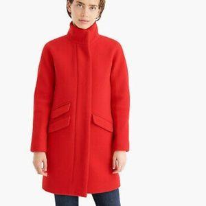J. Crew Cocoon Coat in Italian stadium-cloth wool Size 16 Cherry Red